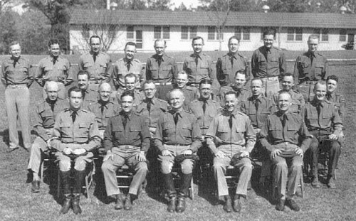 (above) The staff of Gen. Crittenberger (middle):  Maurice Rose, Chief of Staff (far left); Howard L. Peckham, Assistant Chief of Staff (far right); Henry Cabot Lodge Jr. (second from the right, standing) (below) Generals Patton and Crittenberger at Ft. Benning, 1942
