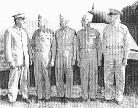 My father (second from right) and the other Camp Campbell generals (Brewer, second from left and Newton, third from left) turn to greet the visiting General Jacob L. Devers.